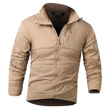 Men's Tactical Military Light Nylon Windbreaker Jacket