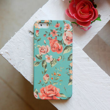Floral Phone Case iPhone 6 Case mint iPhone 6 plus Case floral iPhone 5 Case Samsung Galaxy S5 Case Floral LG G3 Case floral s4 mini case