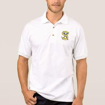 Crossed Baseball Bat With Electric Lightning Bolt Polo Shirt