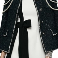 On A String Black Tweed Long Sleeve Round Neck Bead Pearl Button Jacket Outerwear