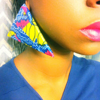 Pink blue yellow triangle Ankara Dutch wax print African fabric Kitenge Vlisco oversized large statement post earrings