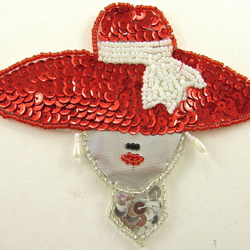"10 PACK - Lady with Red Hat Silver Tie White Beads 4"" x 4.5"""