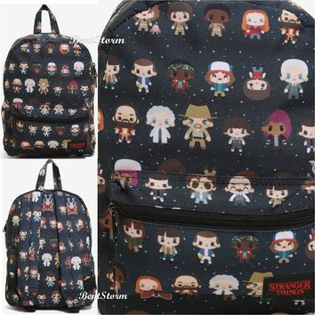 Licensed cool Netflix Stranger Things Characters Chibi Mini Backpack School Book Bag Loungefly