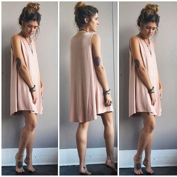A Potato Sack Dress in Blush