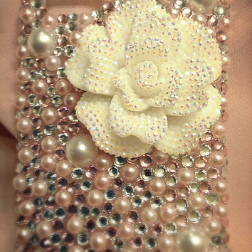 Pink Pearl Crystal White Flower case, Rose phone case, bling case, girly case, white pearl case