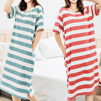 Fashion Straight Dress Loose Casual Striped Nightdress Long Over Knee Home Service