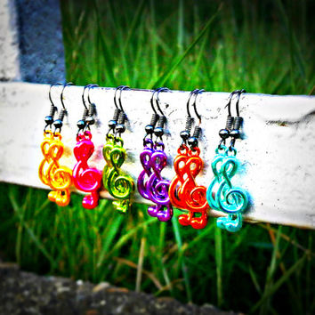 Green Treble Clef Earrings - Bohemian Handmade Jewelry - 6 Colors To Choose From!!!