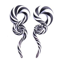 Glass Taper Swirl Spiral Zebra Stripes Plugs Ear Gauges Treble Hanger 0G (8mm) Stretch 2PC