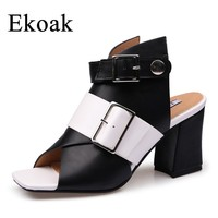 Ekoak New 2018 Summer Shoes Woman Fashion Women Sandals Ladies Mules High Heels Shoes Gladiator Girls Sandals Women Party Shoes