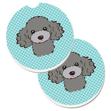 Checkerboard Blue Silver Gray Poodle Set of 2 Cup Holder Car Coasters BB1197CARC