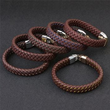 LINSOIR 2017 Fashion Brown PU Braided Mens Leather Bracelets Handmade Alloy Buckle Belt Clasps Bracelet For Women Male Jewelry