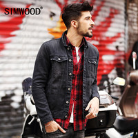 SIMWOOD New Autumn Winter Men Denim Jacket Fashion Casual Slim Jean Jacket Coat long sleeve brand clothing NJ6508