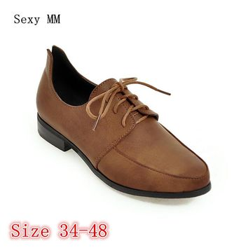 Lace Up Shoes Women Oxfords Shoes Loafers Flats Woman Casual Flat Shoes High Quality Plus Size 34 - 40 41 42 43 44 45 46 47 48