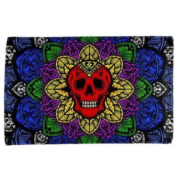 ONETOW Halloween Demon Skull Mandala All Over Hand Towel