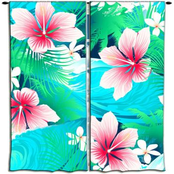 Surfer Bedding Aqua and Pink Hibiscus Hawaiian Curtains