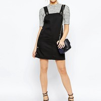 Boohoo Popper Side Bonded Pinafore Dress