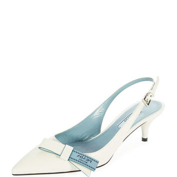 Prada Logo-Bow Leather Slingback Pump