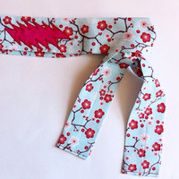 Grateful Dead Headband - Spring Cherry Blossoms with Pink and Red 13 Point Bolt - Headwrap - Bandana