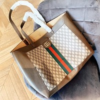 GUCCI New fashion stripe more letter leather shopping leisure handbag shoulder bag two piece suit