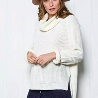 White Turtle-Neck Asymmetrical Knitted Sweater