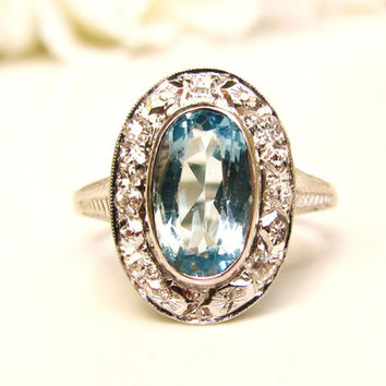 Antique Aquamarine Halo Engagement Ring 1.41Ct Oval Cut Aquamarine European Cut Diamond Wedding Ring 14K White Gold March Birthstone Ring