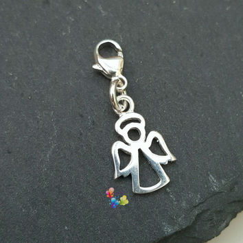 Clip on Charm, Guardian Angel, Sterling Silver, gift for her, holiday gift, Christmas gift