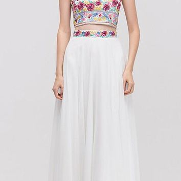 Long Chiffon Embroidered Floral Pattern Prom Gown Off White 2 Piece