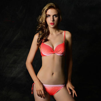 Ombre Pink Women Swimsuit Push Up Women Swimwear
