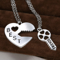 2P Vintage Puzzle Pendant Necklace Handstamped Best Friends Jewelry Personalized Gifts Charms Couple Friendship Necklaces