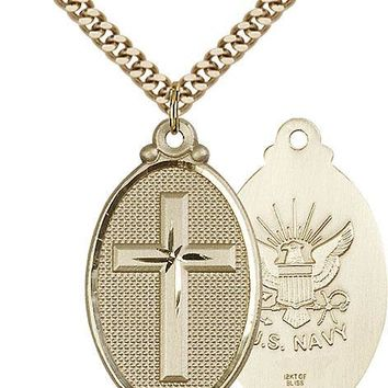 Men's 14K Gold Filled Cross Navy Military Soldier Catholic Medal Necklace 617759629491