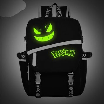 Men's Backpack Pokemon Gengar Backpack Galaxy Luminous Printing Backpack Animation Backpack School Bags fTeenagers Mochila W540