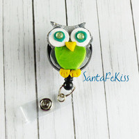 Owl Badge Holder with Retractable Badge Reel handmade with Polymer Clay and rhinestone eyes  - for Office / Nurse / Teacher/ Coworker