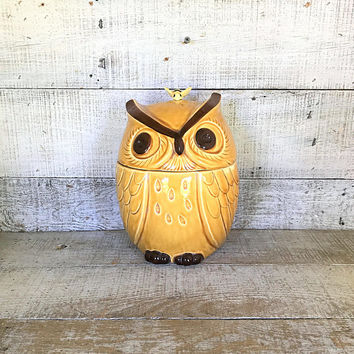 Owl Canister Owl Cookie Jar Mid Century Ceramic Owl Jar Large Kitchen Canister Kitchen Storage Craft Storage Rustic Canister