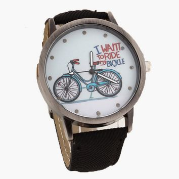 Unisex Vintage Novelty Ride Bicycle Quartz Watch with Denim Strap