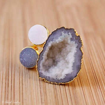 SALE Multi Colour Agate Druzy Statement Ring - Raw Geode Slice - Blue Druzy, White Druzy