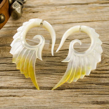 Fake Gauges Earrings Mother Pearl Earrings Wings White Angel Tribal Earrings - Abalone Shell Gauges - FG002 AS ALL