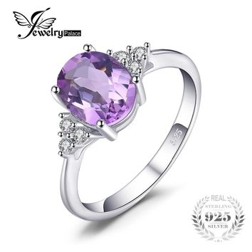 JewelryPalace Classic Oval 2.8ct Created Alexandrite Sapphire Anniversary Rings For Women Solid 925 Sterling Silver Fine Jewelry