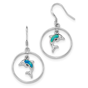 Sterling Silver Rhodium Circle w/Created Blue Opal Dolphin Dangle Earrings QE12600