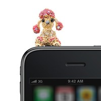 Gold Plated Crystal Moveable Ear Poodle iPhone Jack Anti Dust Plug Cover Stopper (Pink Color)