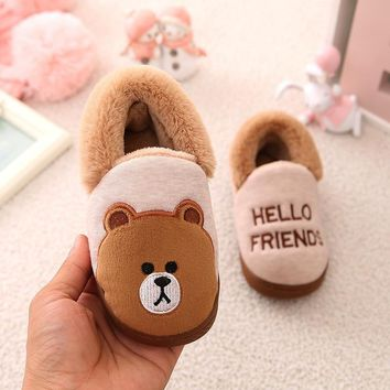 Cartoon Winter Bear Children Warm Plush Indoor Bedroom Slippers