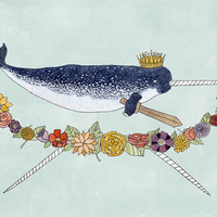 King of Tusks 8x10 narwhal print