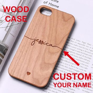 Personalized Custom Text Name Monogram Initials Hard Wood Phone Case For iPhone 6 6S 6Plus 7 7Plus 8 8Plus 5 X SASMUNG S7 S8 S9