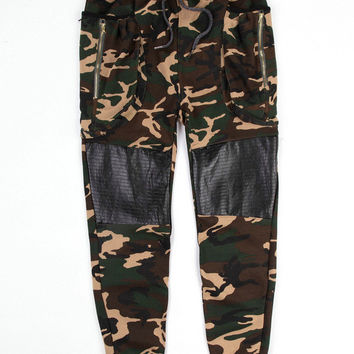 Camouflage Emoji Zipper Pocket Leather Accent Joggers Pants