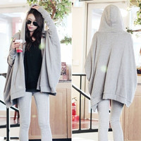 Korean Women Celeb Batwing Sleeve Oversized Loose Zip Up Hoodie Cardigan Jacket = 1946093956