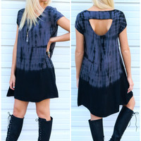 Cypress Springs Charcoal & Black Scoop Neck Tie Dye Dress With Back Cutout