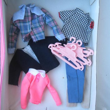 Vintage Lot of Barbie Clothes: Barbie Tops & Slacks - Suzy Goose Hangers - 1970s Pink Barbie Top - Checked Midge Top - Pink Doll Hangers