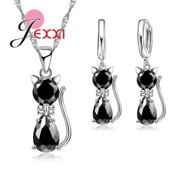 3 Pc Set Silver Cute Cat Pendant Necklace Earrings With Austrian Crystal Set