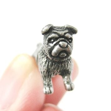 Fake Gauge Earrings: Realistic Bulldog Puppy Dog Animal Stud Earrings in Silver