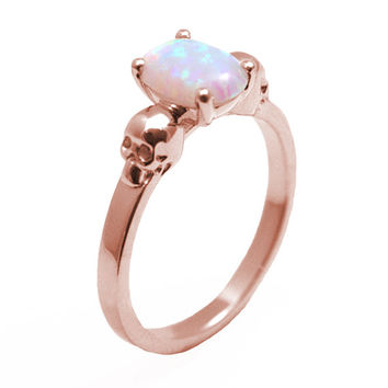 Skull Ring 9ct Gold 1.4ct Diamond-Unique Unicorn Tear Opal Hand Crafted Engagement Ring