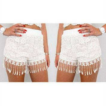 DCCK6HW Personality Fashion Solid Color Lace Stitching Tassel Shorts Hot Pants